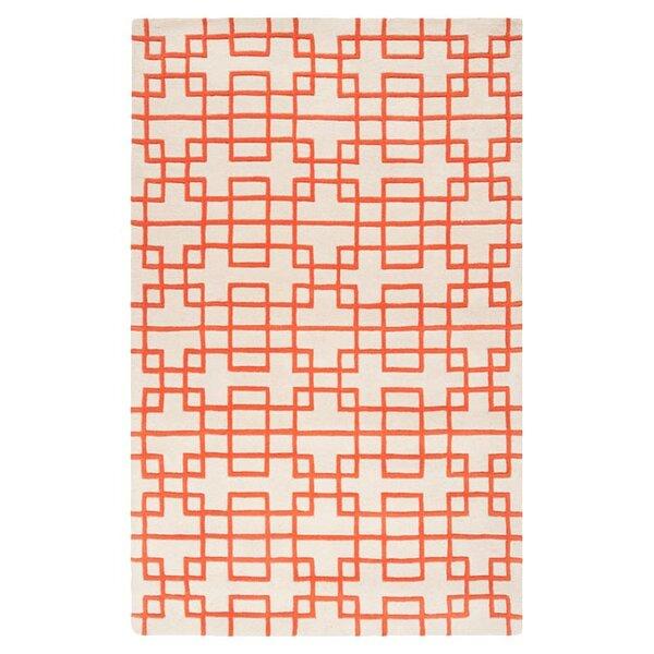Jessenia Ivory/Orange Area Rug by Everly Quinn
