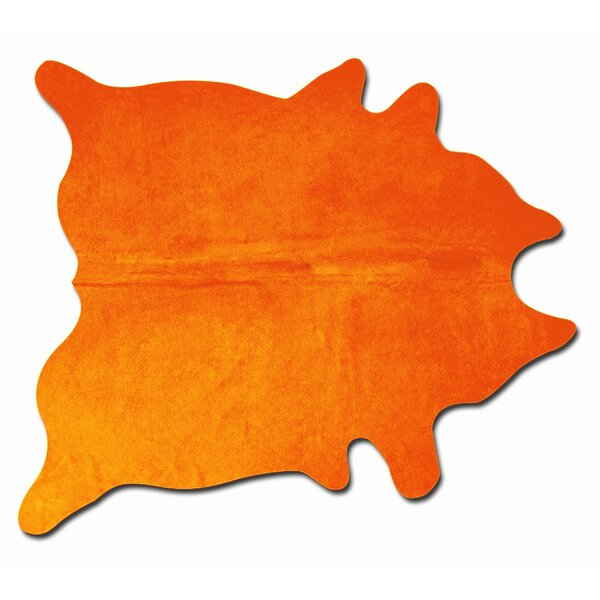 Rondon Hand-Woven Cowhide Orange Area Rug by Latitude Run