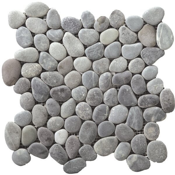 Venetian Pebbles 12 x 12 Mosaic Tile in Silver by Emser Tile