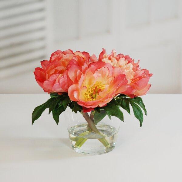 Peonies Floral Arrangement in Glass Vase by Rosdorf Park