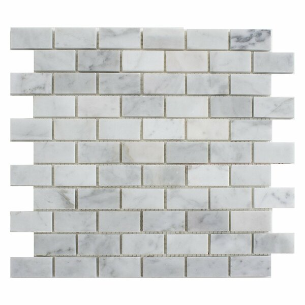 Carrara Brick 1 x 2 Marble Mosaic Tile in White by Matrix Stone USA