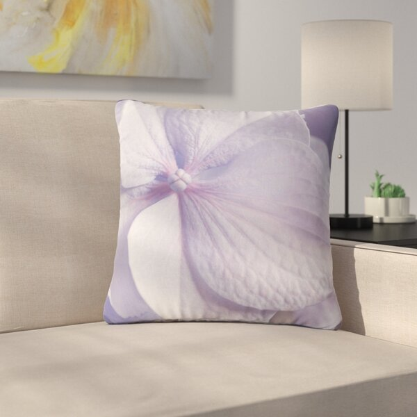 Suzanne Harford Hydrangea Flower Floral Lavender Outdoor Throw Pillow by East Urban Home