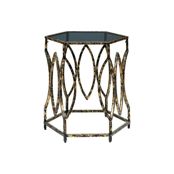 Elias Glass Top Abstract End Table By Everly Quinn