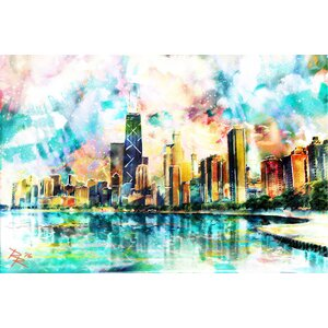 'Chicago Skyline' by Pat Spark Graphic Art Print on Wrapped Canvas by Marmont Hill