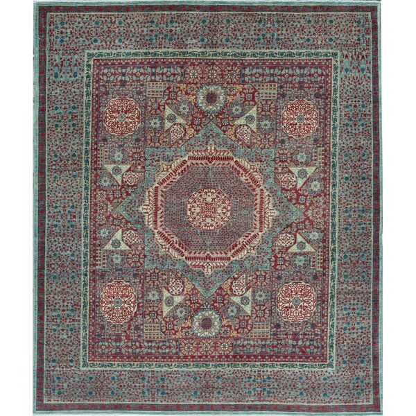 Mamluk Oriental Hand-Knotted Wool Red/Light Green Area Rug