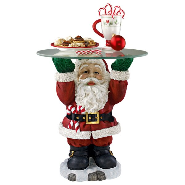 Santa Claus Sculptural Glass-Topped Holiday Table by Design Toscano Design Toscano
