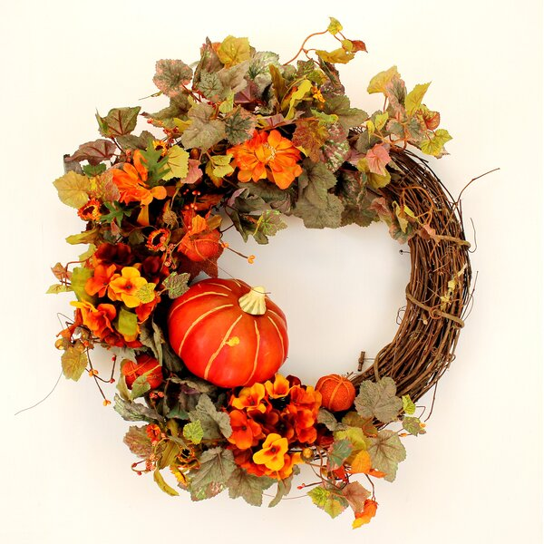 Fall 22 Pumpkin and Hydrangea Wreath by The Holiday Aisle