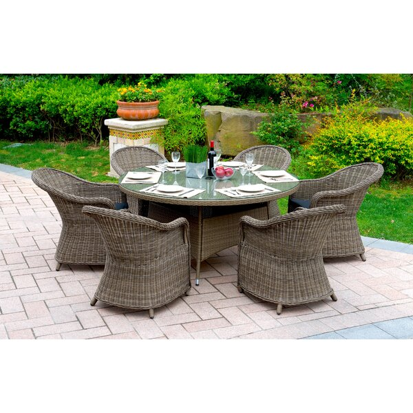 Filippo 7 Piece Dining Set with Cushions by One Allium Way