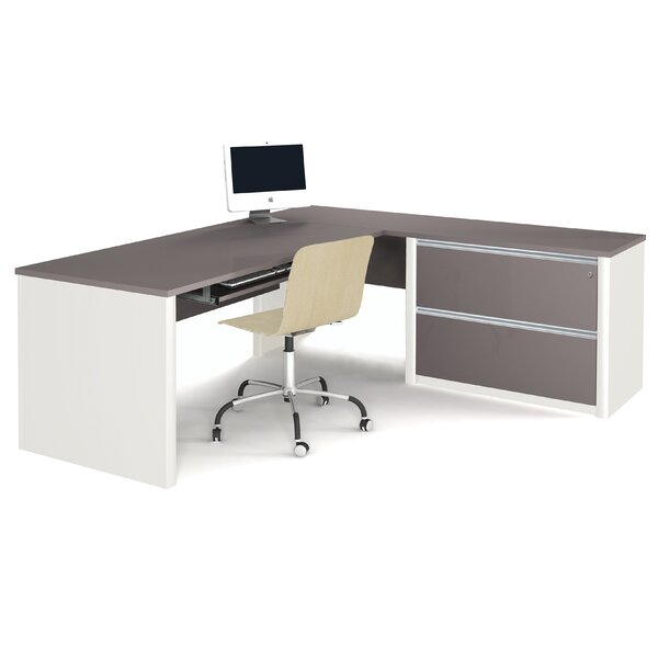 Karla Pedestal L-Shape Executive Desk by Latitude Run