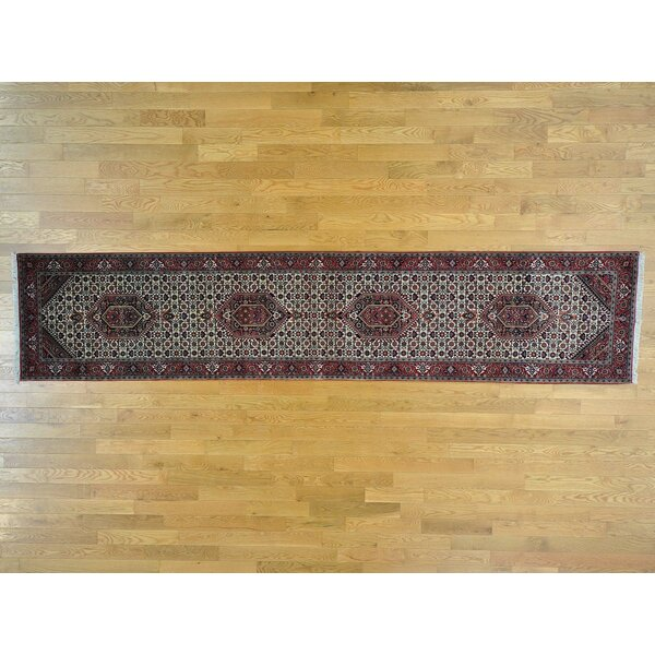 One-of-a-Kind Bim Mahi Bidjar Hand-Knotted Ivory Wool/Silk Area Rug by Isabelline