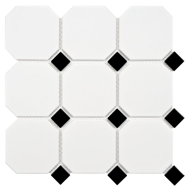 Retro Super Octagon 11.63 x 11.63 Porcelain Mosaic Tile in Matte White with Glossy Black Dot by EliteTile