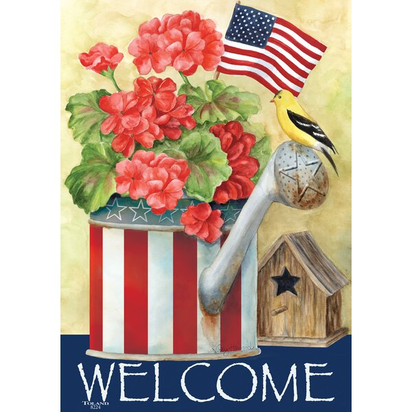 Patriotic Watering Can 2-Sided Garden flag by Toland Home Garden