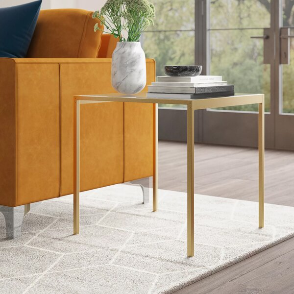 Wickliffe Glass Top End Table by Mercury Row Mercury Row