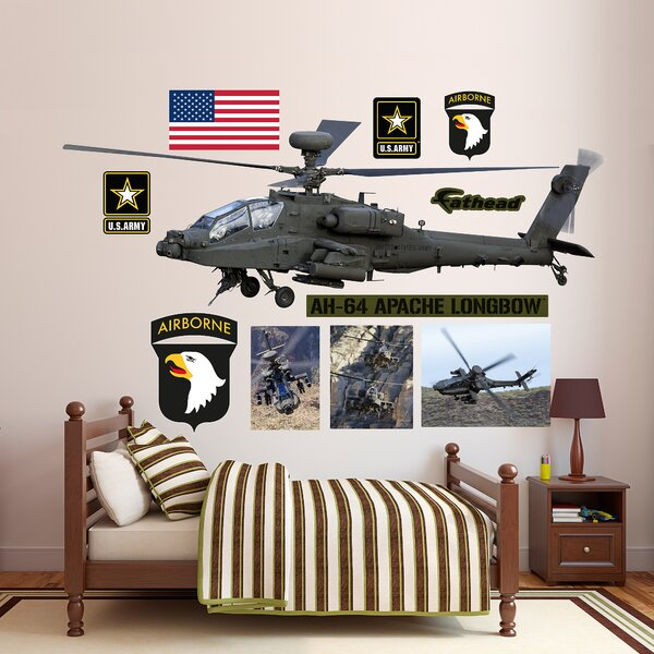United States Army AH-64 Apache Longbow Helicopter Peel and Stick Wall Decal by Fathead