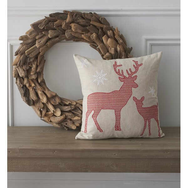 Holiday Whimsical Reindeer Cotton Throw Pillow by County Road