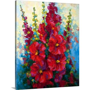 'New Hollyhocks' by Marion Rose Painting Print on Canvas by Canvas On Demand