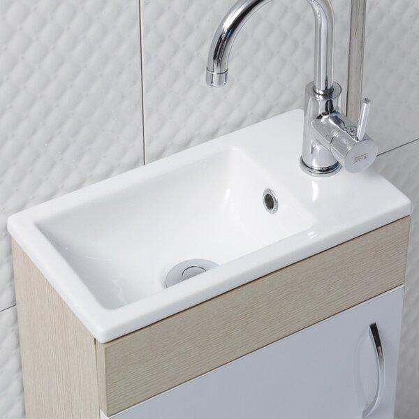 Mini Ceramic Rectangular Drop-In Bathroom Sink with Overflow by CeraStyle by Nameeks