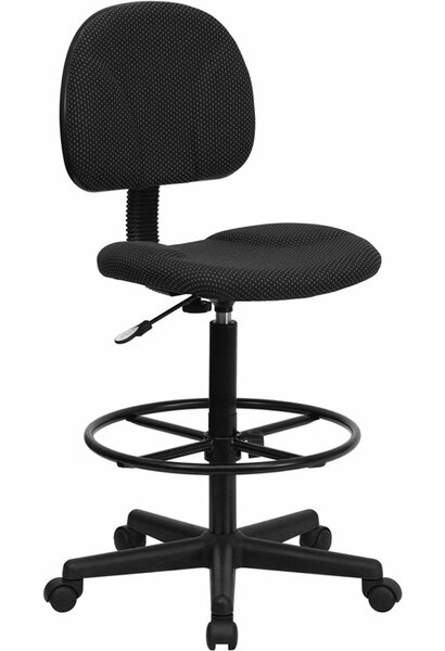 Kruger Black Patterned Fabric Drafting Chair by Symple Stuff