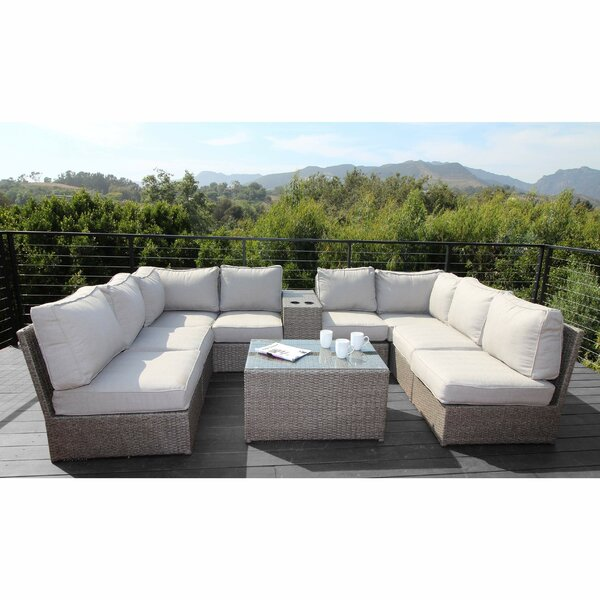 Normandy 10 Piece Rattan Sectional Seating Group with Cushions by Rosecliff Heights