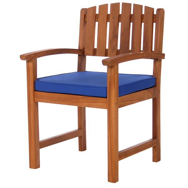 Humphrey Teak Patio Dining Chairs with Cushion by Longshore Tides