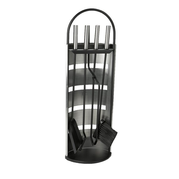 Stand Alone 5 Piece Steel Fireplace Tool Set by Mind Reader