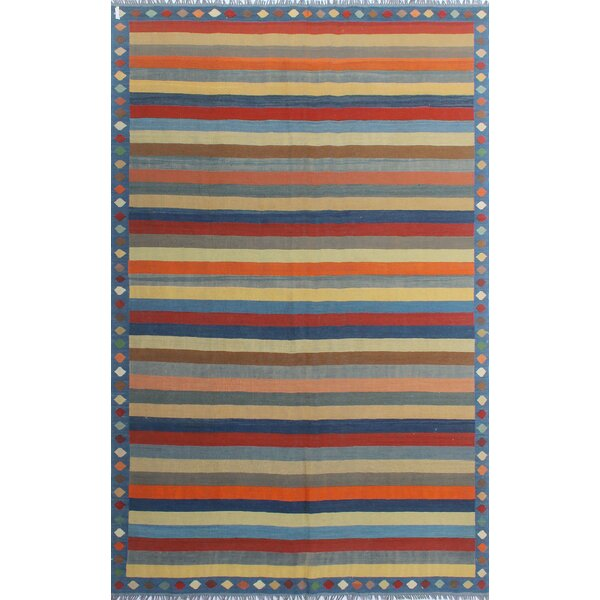 Dickie Hand-Knotted Wool Blue/Cream/Red Area Rug by Bloomsbury Market
