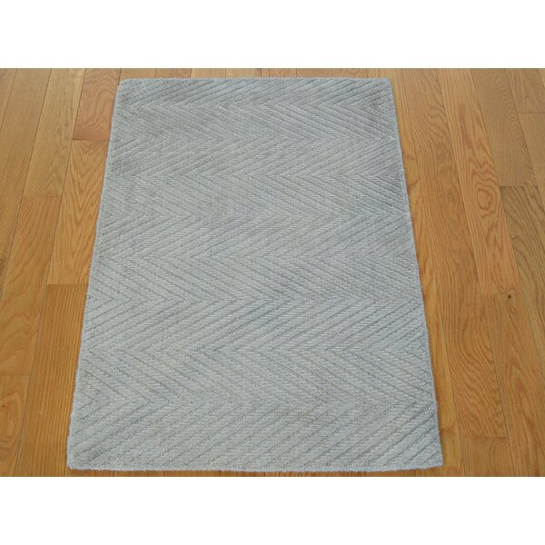 One-of-a-Kind Bean Chevron Design Art Handwoven Ivory Silk Area Rug by Isabelline