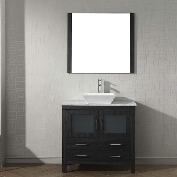Cartagena 36 Single Bathroom Vanity Set with White Marble Top and Mirror by Mercury Row