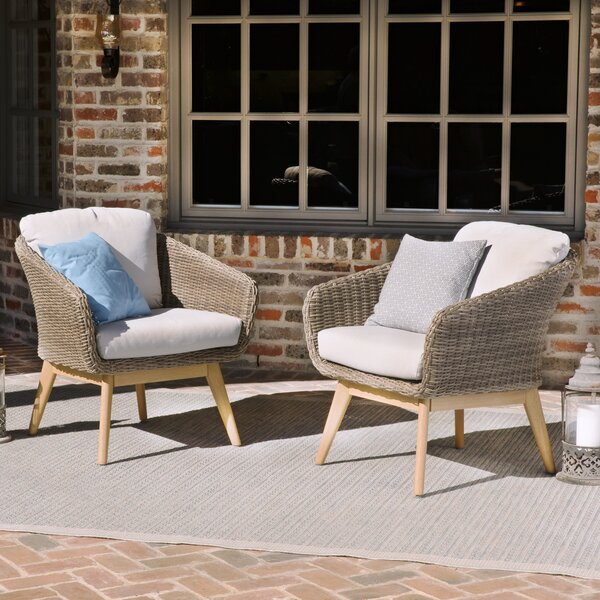 Bacchus Patio Chair with Cushions (Set of 2) by Langley Street