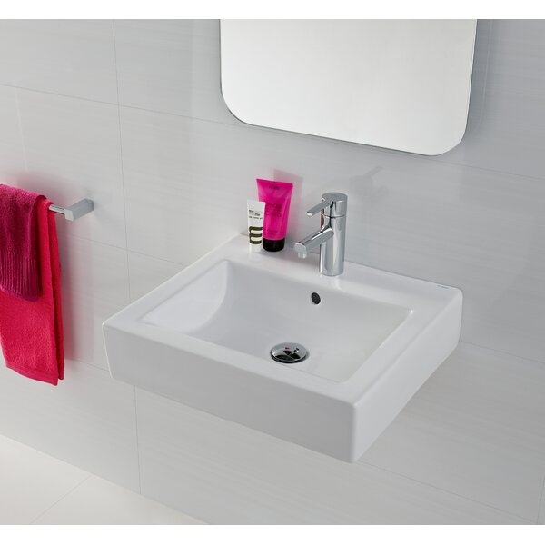 Universal Ceramic Rectangular Vessel Bathroom Sink with Overflow by Bissonnet