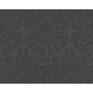 Damask Velvet Wallpaper Black