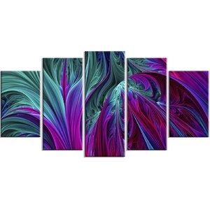 Metal 'Purple/Green Jungle' 5 Piece Graphic Art Set by Design Art