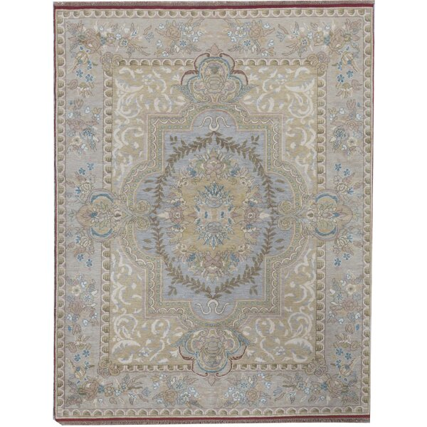 Oriental Hand-Knotted Wool Gold/Green Area Rug