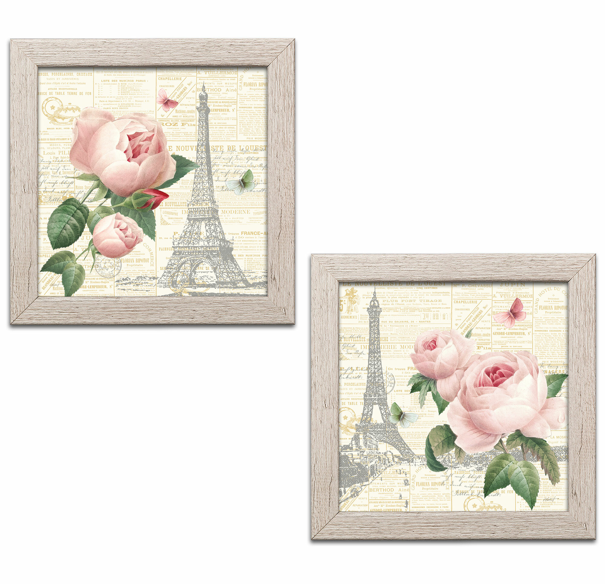 DISTRESSED PICTURE FRAME BUTTERFLY FLORAL PRINT FRAMED CANVAS WALL ART IMAGE
