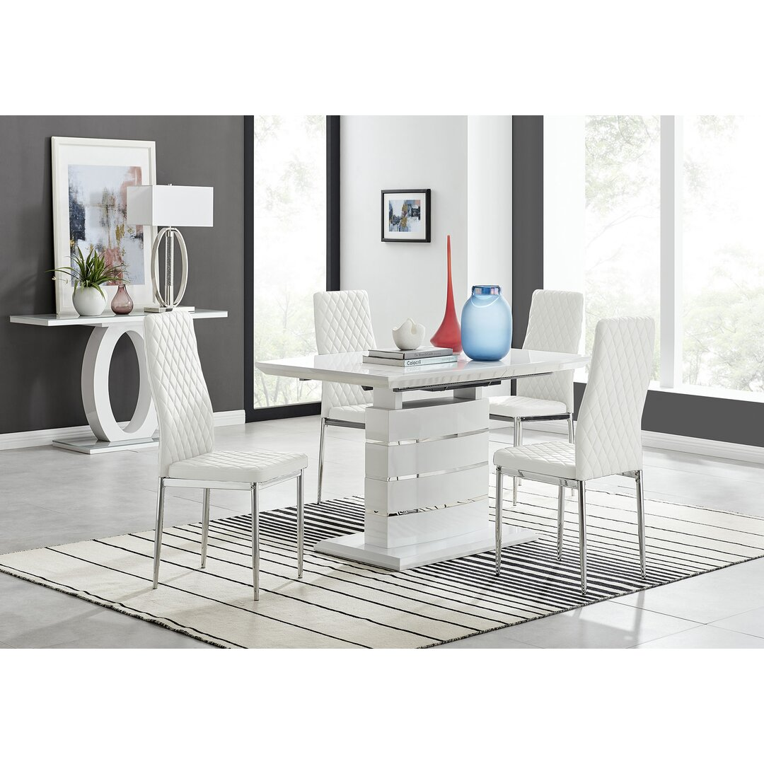 Renato 120Cm High Gloss Extending Dining Table And 4 White