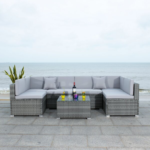 Diona 7 Piece Rattan Sectional Seating Group with Cushions by Latitude Run