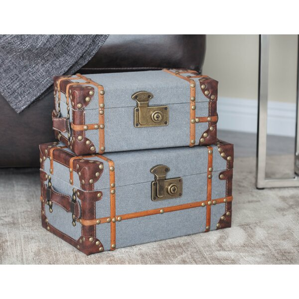 Wood/Fabric 2 Piece Decorative Box Set by Cole & Grey