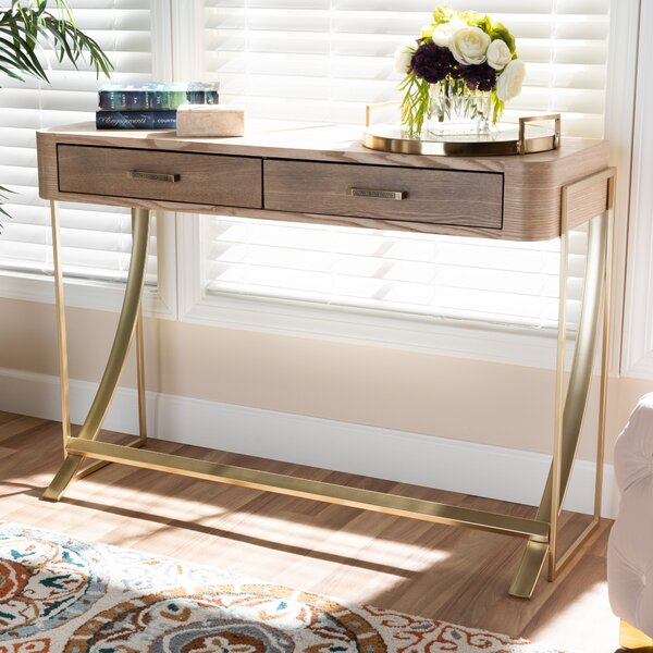 Coldiron Wood 2-Drawer Console Table By Mercer41