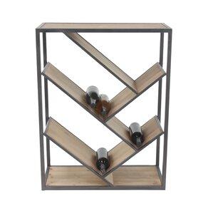 Viktoria Modern Slanted Fir Wood and Iron Rectangular Tabletop Wine Bottle Rack by 17 Stories