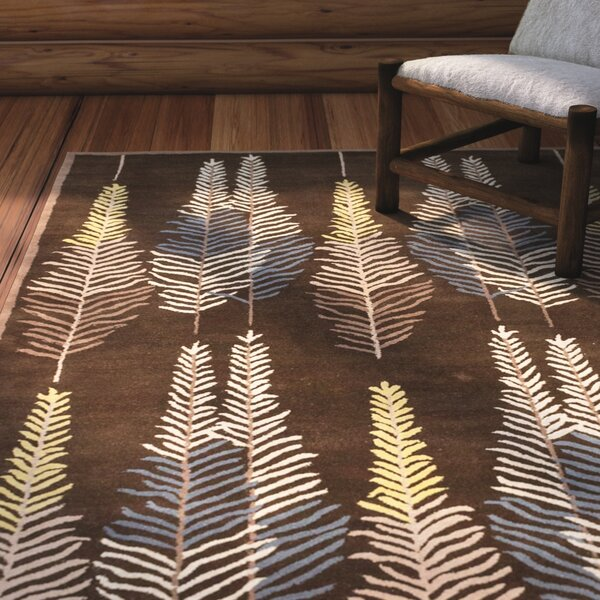 Burnabbie Leaf Hand-Tufted Brown/Yellow/Blue Area Rug by Loon Peak