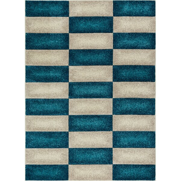 Herring Mid-Century Modern Geo Color Blocks Blue Area Rug by Ebern Designs