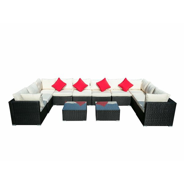 Cheeseman 12 Piece Rattan Sectional Seating Group with Cushions by Red Barrel Studio