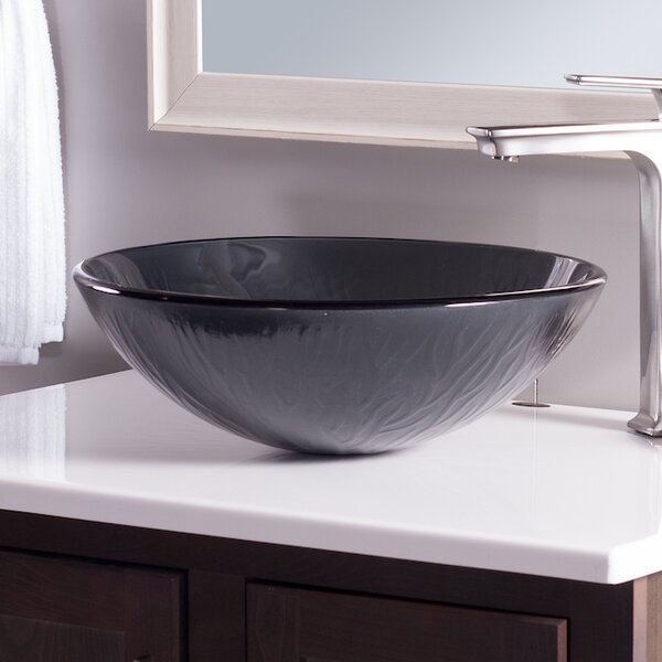 Frosted Glass Circular Vessel Bathroom Sink by Novatto