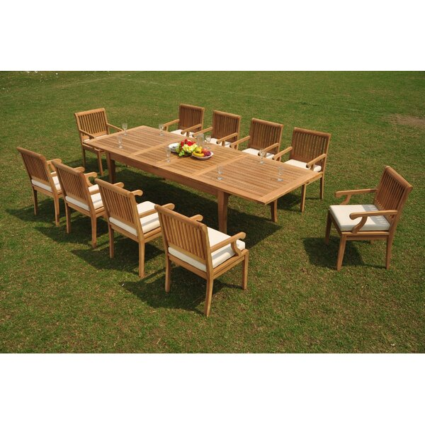 Erin 11 Piece Teak Dining Set by Rosecliff Heights