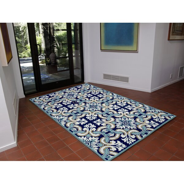 Demirhan Floral Tile Blue Area Rug by Bay Isle Home