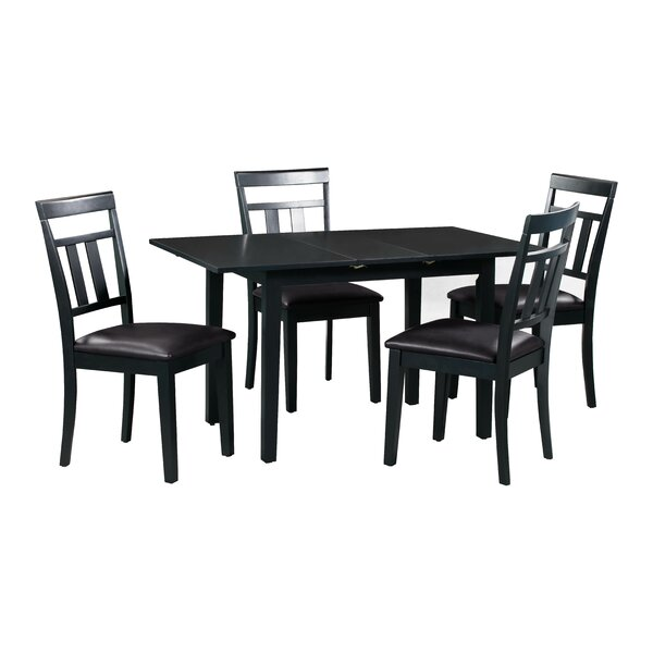 #1 Fontinella 5 Piece Extendable Solid Wood Dining Set By Alcott Hill Today Only Sale