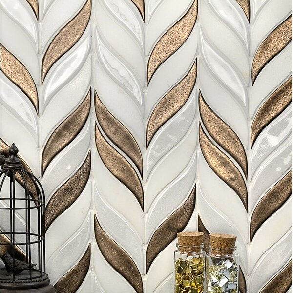 Oracle Sprig Mixed Material Mosaic Tile in White/Metallic Copper by Splashback Tile
