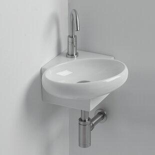 Comparison Whitestone Yotta Ceramic 15 Corner Bathroom Sink with Overflow ByWS Bath Collections