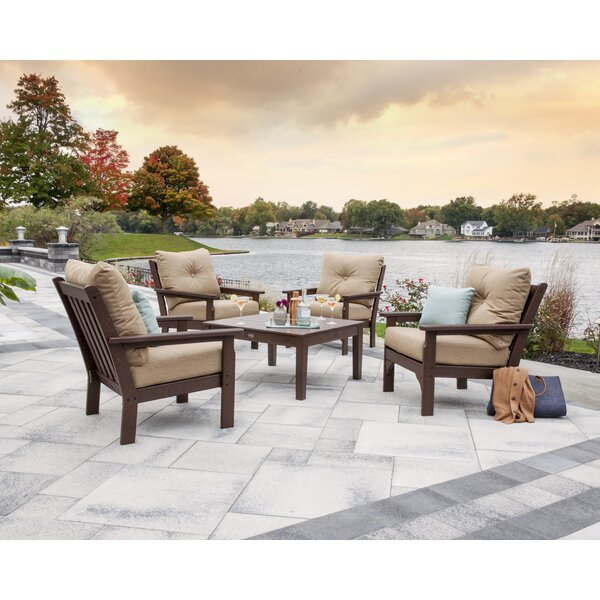 Vineyard 5 Piece Sunbrella Conversation Set with Cushion by POLYWOOD®