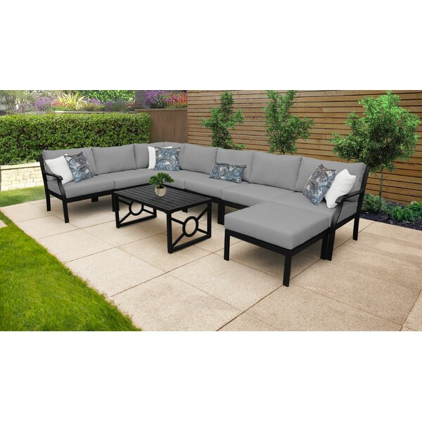 Kathy Ireland Homes & Gardens Madison Ave. 9 Piece Outdoor Seating Group with Cushions by Kathy Ireland Home & Gardens by TK Classics